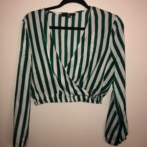 Stripped crop blouse